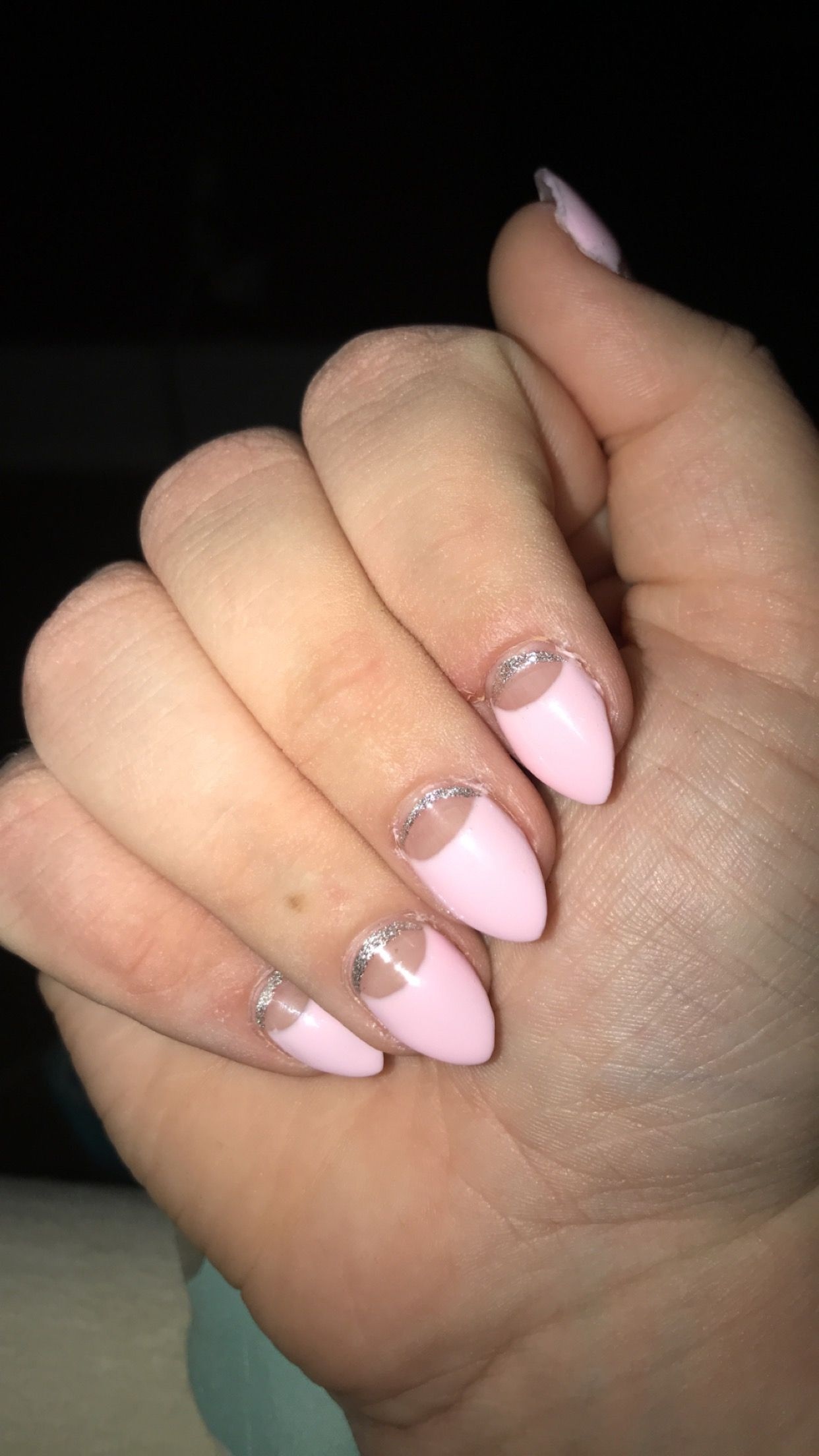 Half Moon Shape With Sparkly Strip At The Cuticle My Nails Cuticle Nails