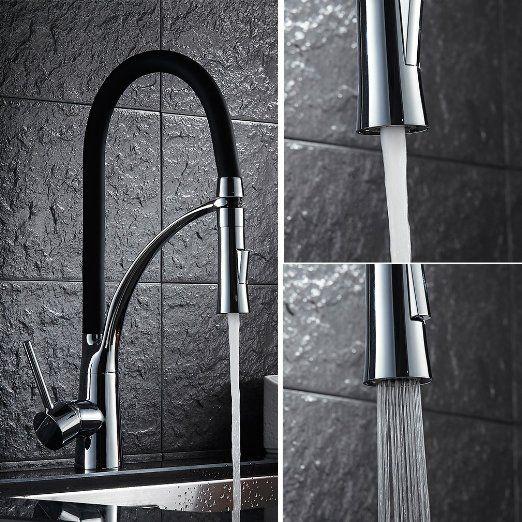Auralum® 360°Drehbar Schwarz Armatur Küchenarmatur Wasserhahn - wasserhahn küche mit brause