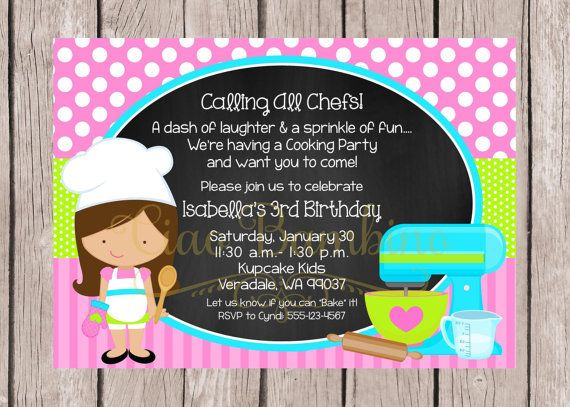 PRINTABLE Little Chef Birthday Party Invitation by ciaobambino – Kids Cooking Party Invitations