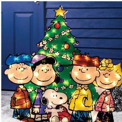 charlie brown peanuts gang christmas tree lighted outdoor gel yard decor