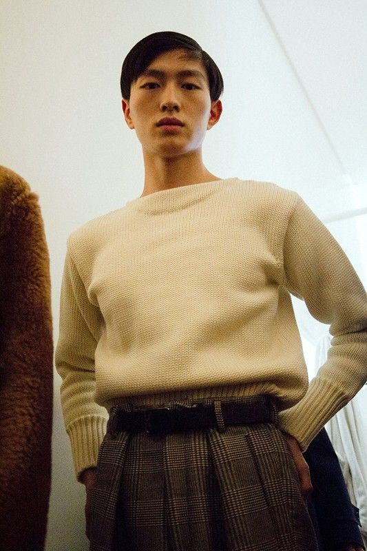 Cream knit and checked trousers backstage at Jil Sander AW15 Milan. See more here: http://www.dazeddigital.com/fashion/article/23256/1/jil-sander-aw15