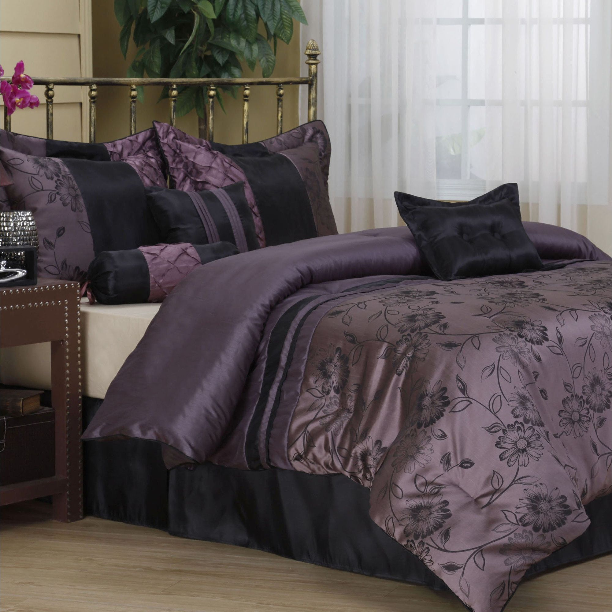purple elegant ideas qu deep comforter for queen light flower sets bedroom decoration size set full king