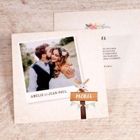 Carte remerciement mariage pancarte champêtre