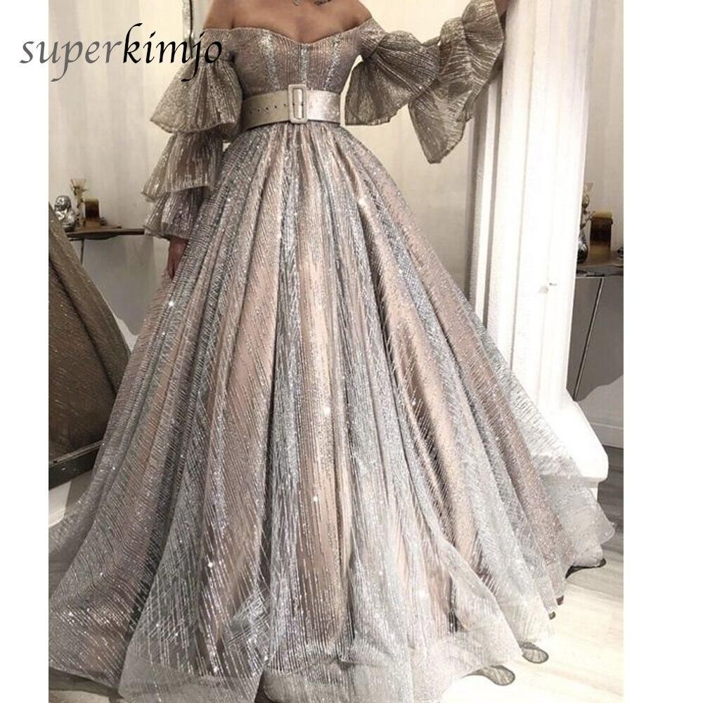 Silver Ball Gown Prom Dresses 2020 Flare Sleeve Sparkle Luxury