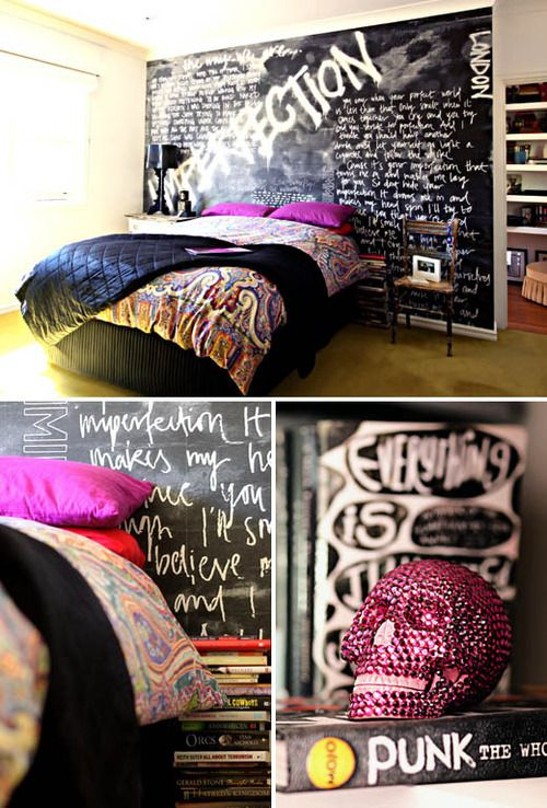 Punk rock bedroom wall ceiling design inspiration and - Painting graffiti on bedroom walls ...