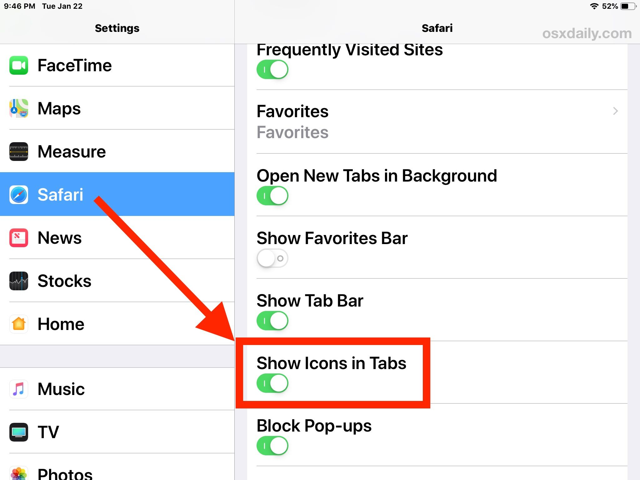 How to Show Website Icons (FavIcons) in Safari for iPad