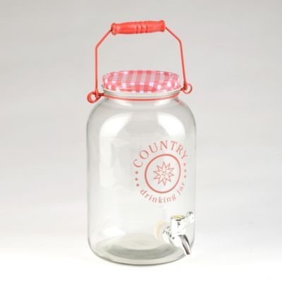 Red Gingham Beverage Dispenser Kirklands Drink Dispenser Glass Mason Jars Drinking Jars
