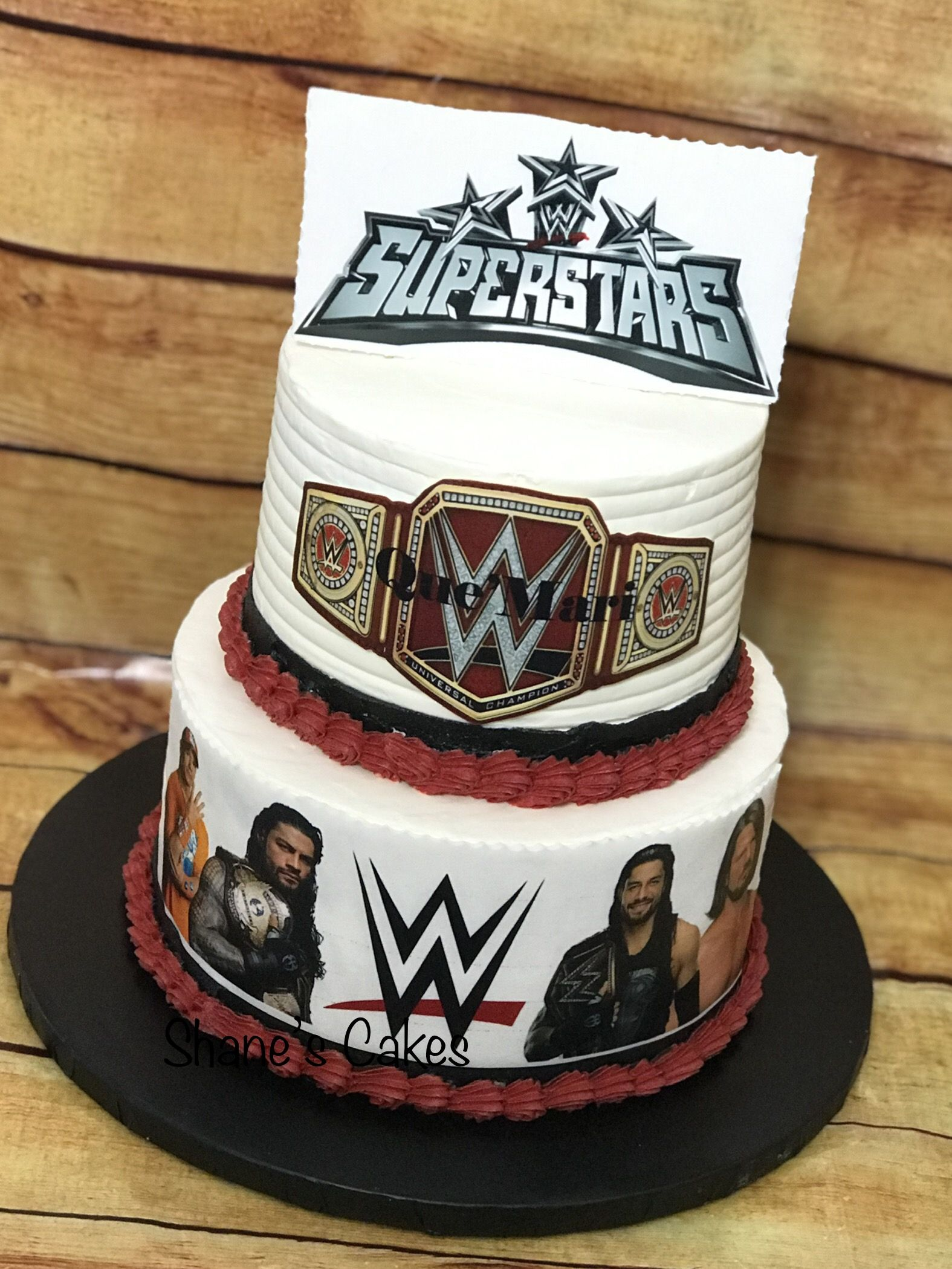 Buttercream frosting with edible decorations wwe