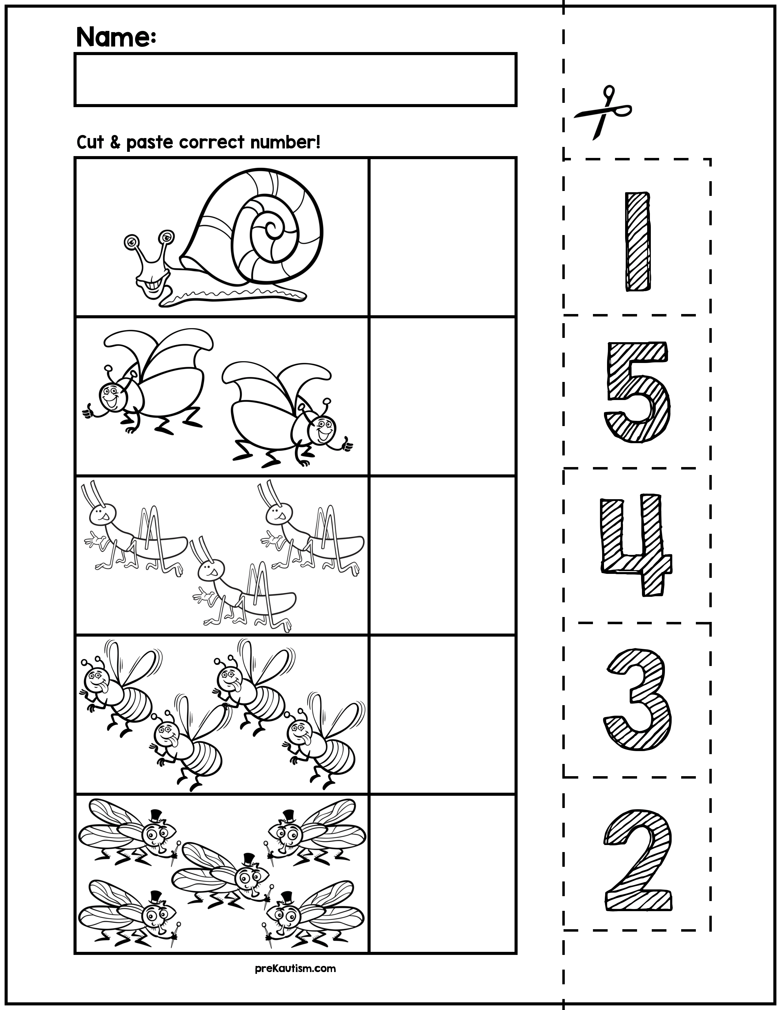 Spring Bugs Cut Amp Match Worksheets