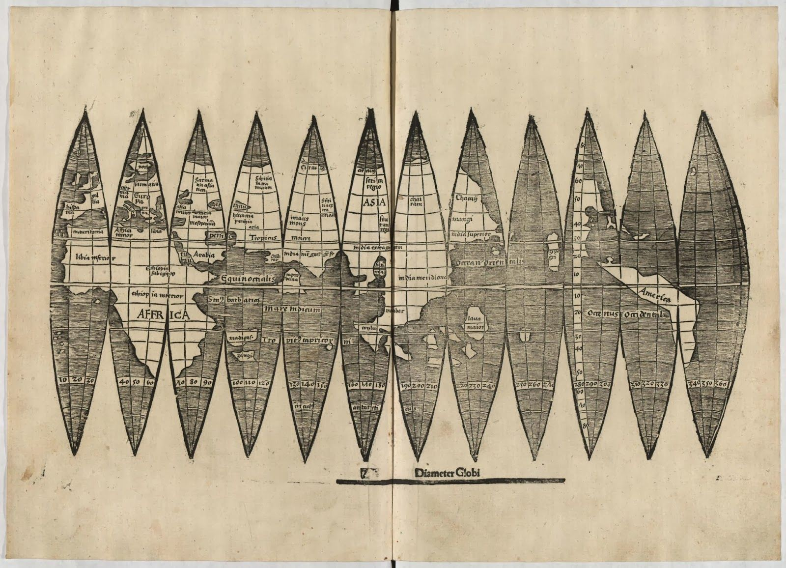 World map 16th century gores for constructing a globe published his world maps and globes are known as the first maps using the name america gumiabroncs Images