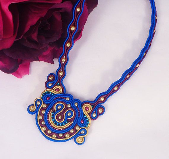 MollyG Designs Beaded necklace Unique necklace.. Soutache necklace Ladies gift idea Soutache jewelry Unique jewellery Party jewellery