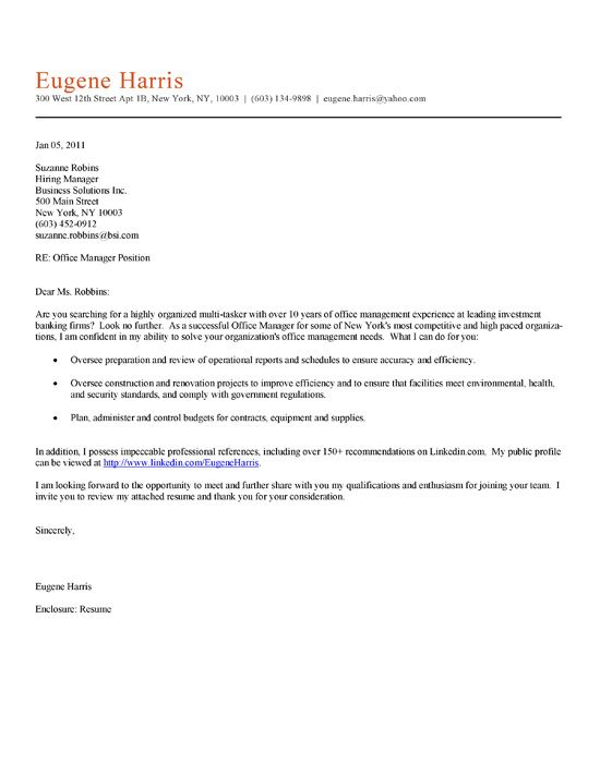 Great Office Manager Cover Letter Example For Professional With Experience In The  Administration And Management Of Financial Business Offices.
