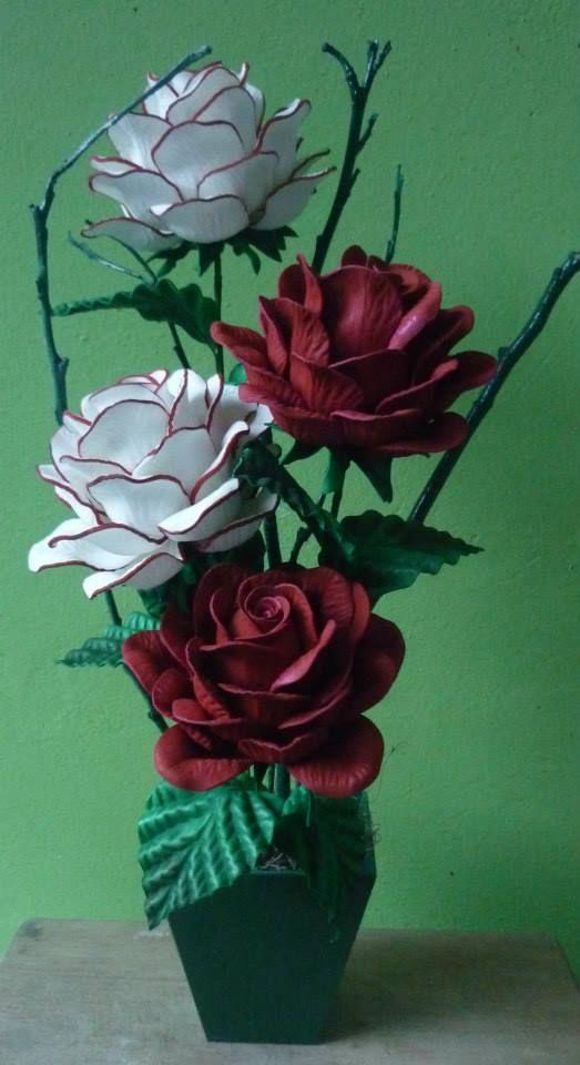 Flores En Foami Lucy Flores De Papel Artesanal Arranjos De
