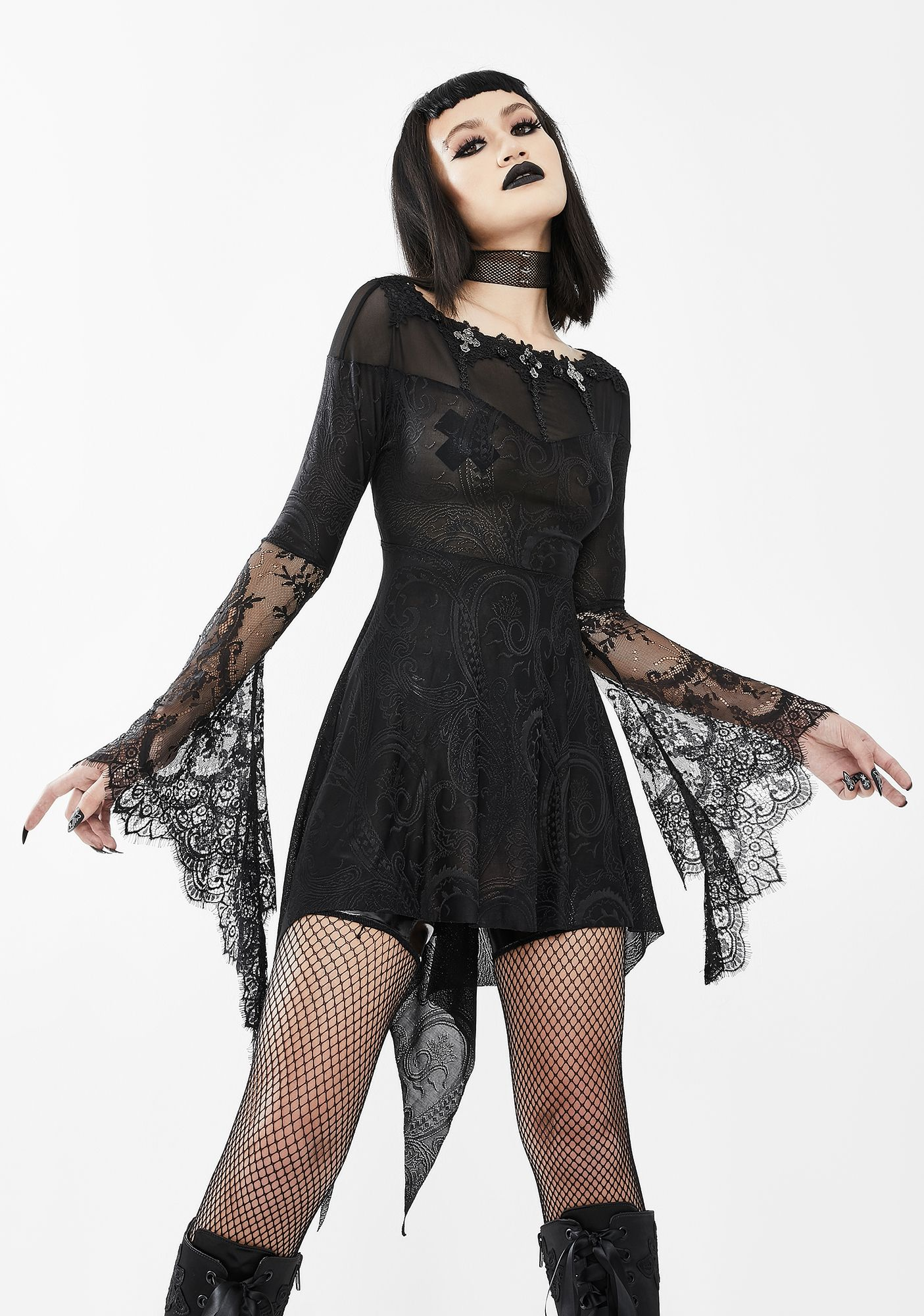 Sheer Black Dress With Lace Bell Sleeves In 2021 Black Sheer Dress Lace Dress Women Lace Blouse [ 2000 x 1405 Pixel ]
