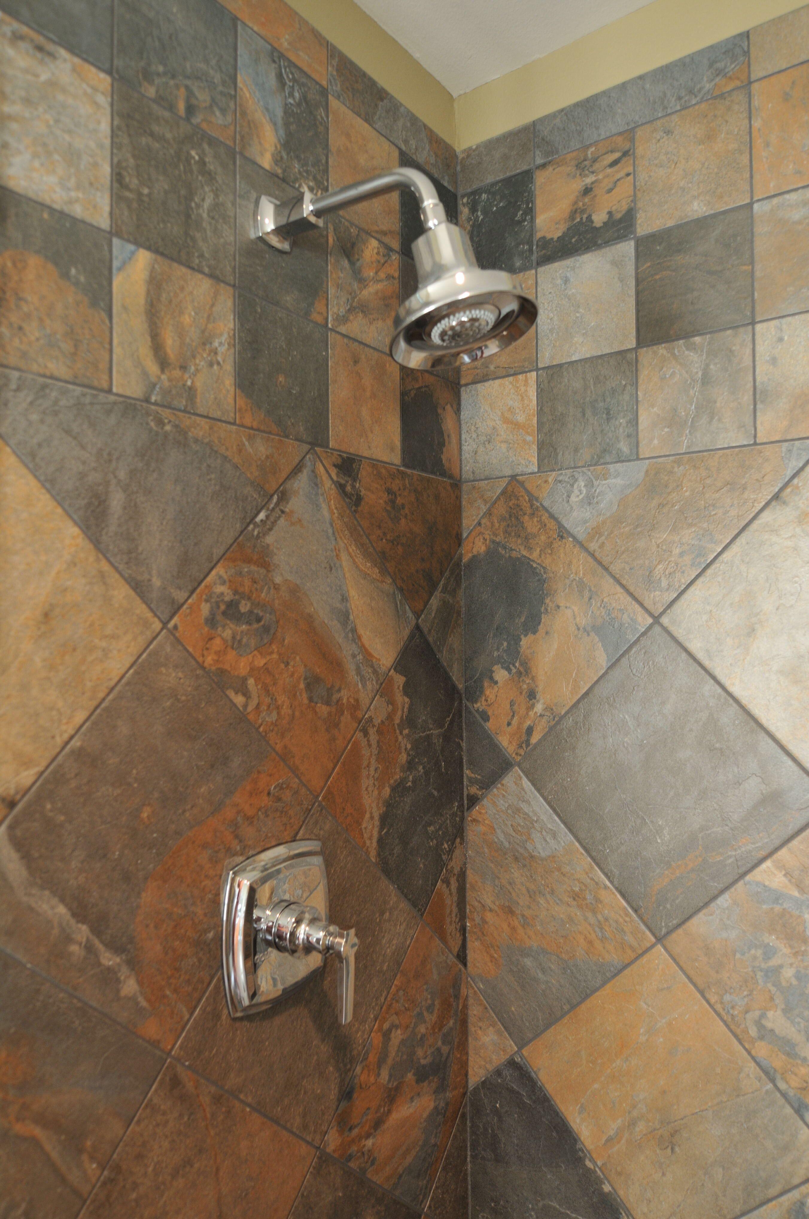 Surface arts umbria multi sierra porcelain slate tile shower and surface arts umbria multi sierra porcelain slate tile shower and kohler margaux showerhead doublecrazyfo Images