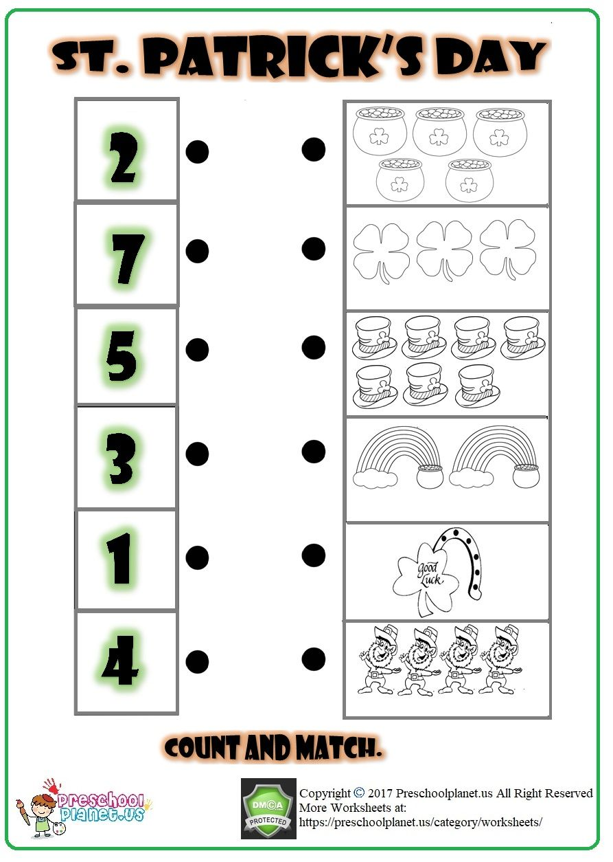 St Patrick S Day Matching Worksheet Matching Worksheets Worksheets Worksheets For Kids
