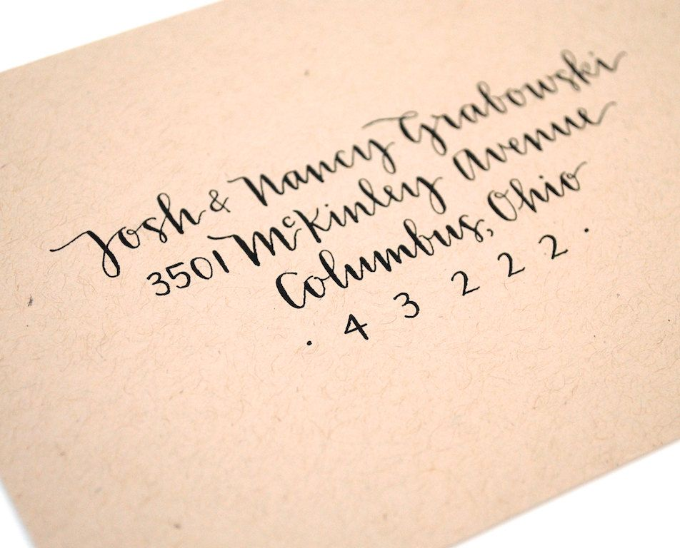 Wedding calligraphy custom envelope addressing modern