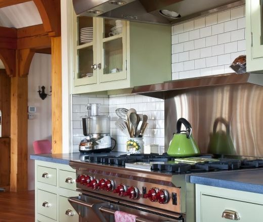Traditional Island Style Green kitchen, cabinets, Patrick Farley,