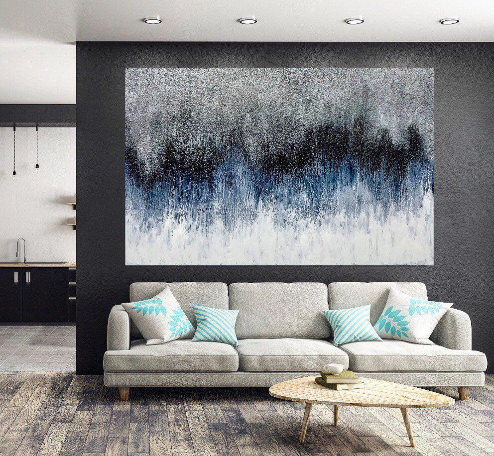 Glitter Abstract Art Sound Wave Painting On Canvas Modern Etsy In 2020 Wave Painting Modern Abstract Wall Art Glitter Wall Art