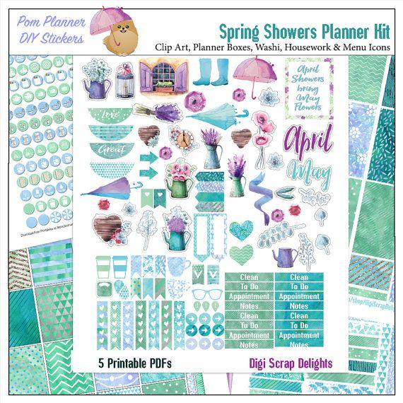 Spring Watercolor  Printable Planner Sticker Kit  5 PDF, 300 French Provence Stickers Watercolor EC Happy Planner Umbrella, Rain