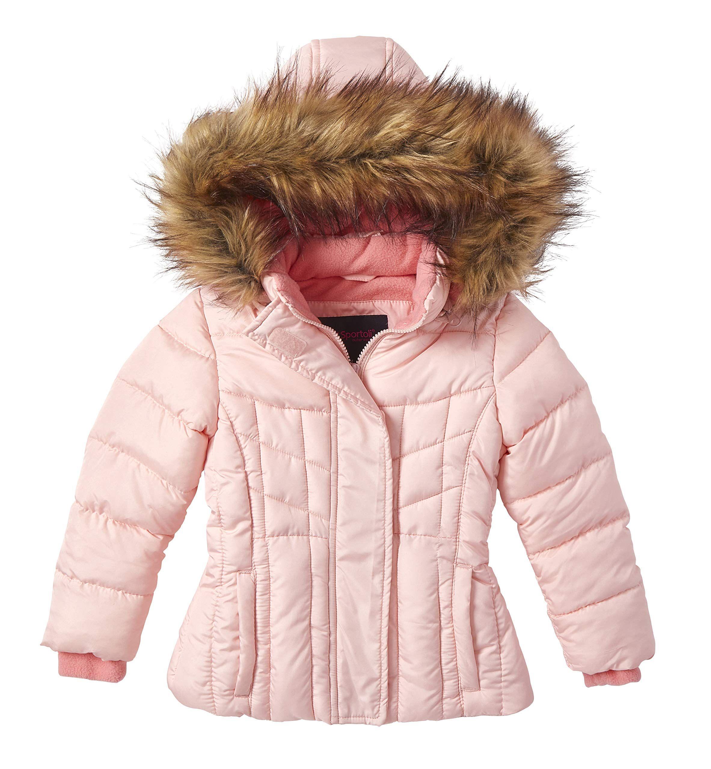 Girls Quilted Fleece Lined Winter Puffer Jacket Coat Faux Fur Trim Zip Off Hood Ad Lined Winter Puffer Gir Winter Puffer Jackets Girls Quilts Fur Trim [ 2560 x 2365 Pixel ]