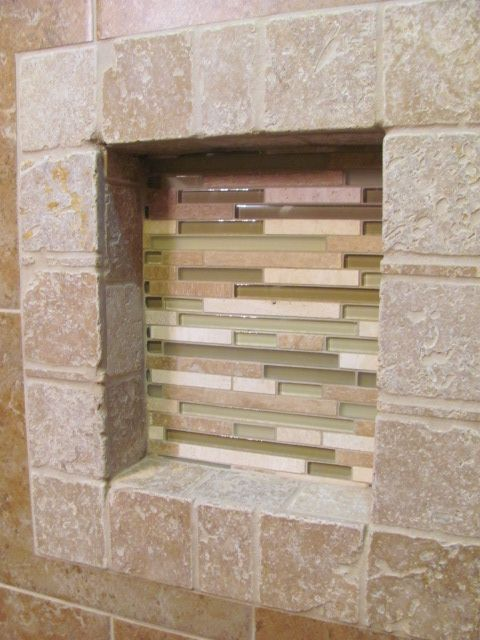 Perfect Travertine framed niche with lineal glass mosaic background