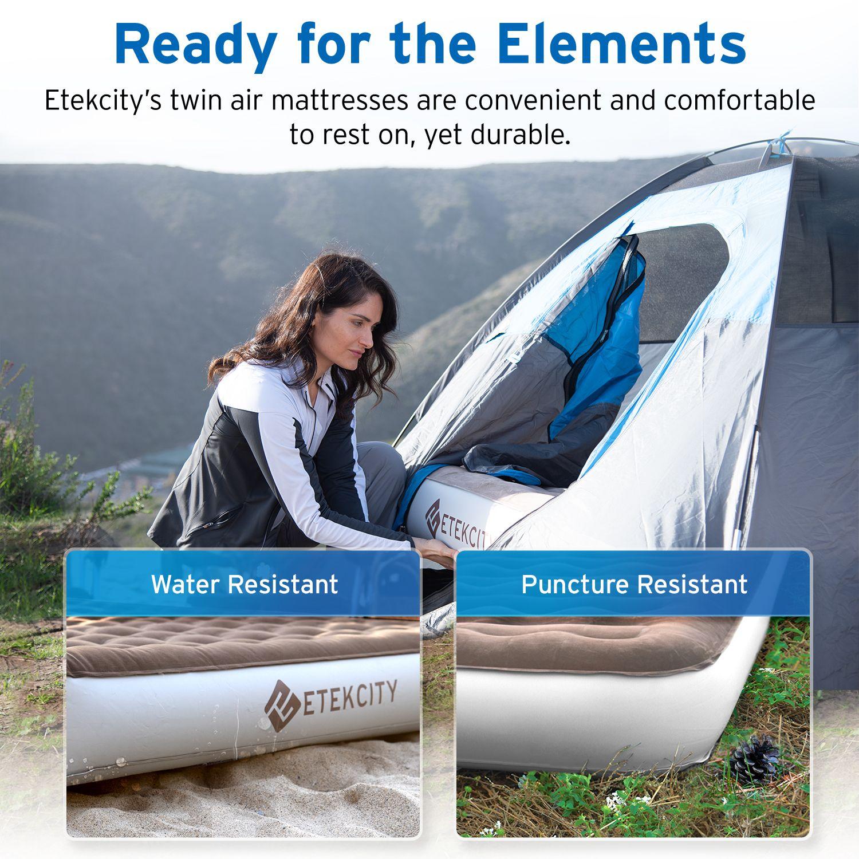 "Etekcity Camping Air Mattress Inflatable Airbed Blow up Tent Mattress 9/""Queen"