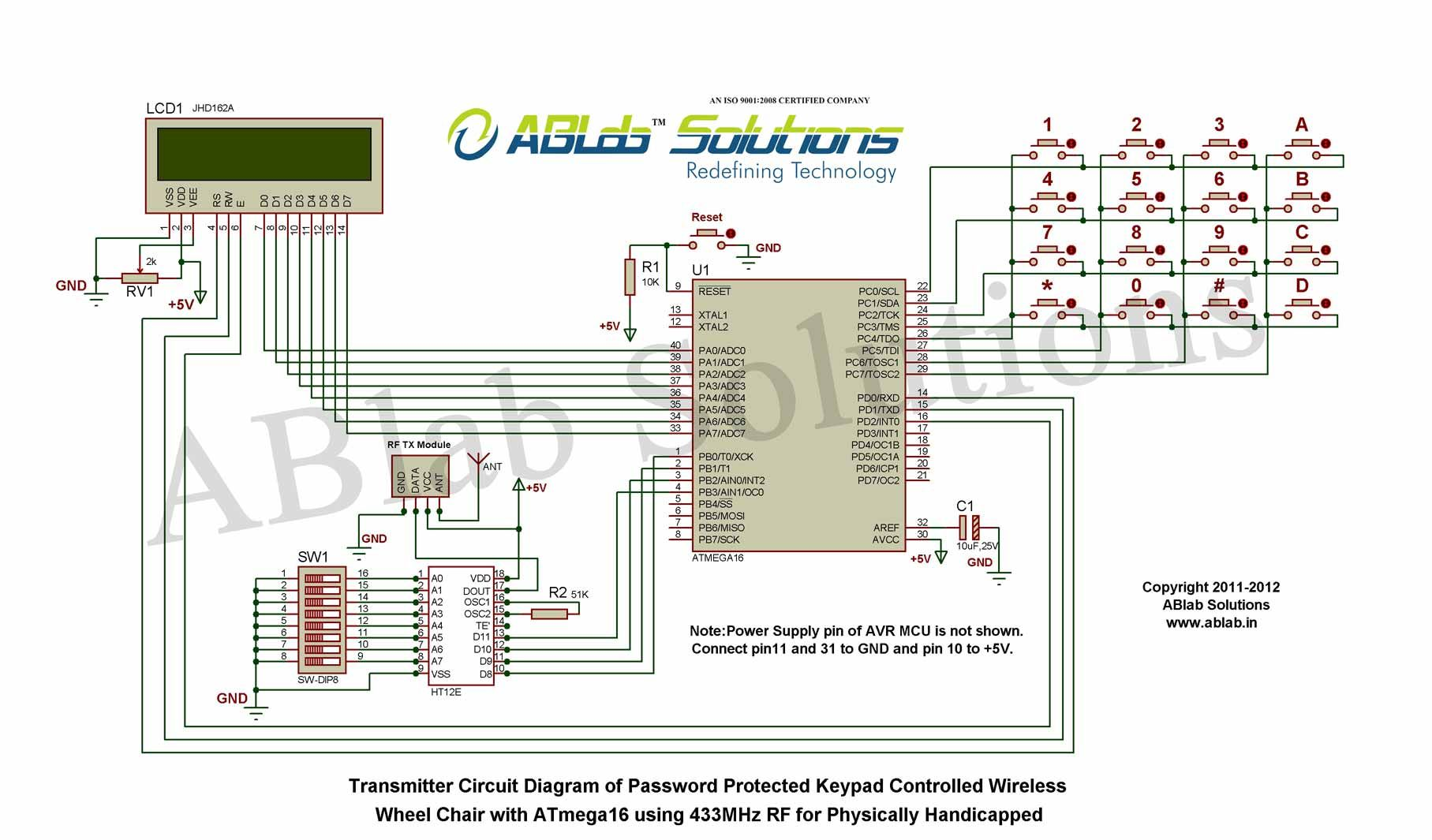 atmega16 microcontroller using 433mhz rf for physically handicapped transmitter circuit diagram [ 1815 x 1065 Pixel ]