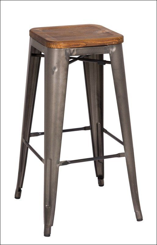 Metropolis Backless Bar Stool Wood Seat Gunmetal In 2018 Millie S