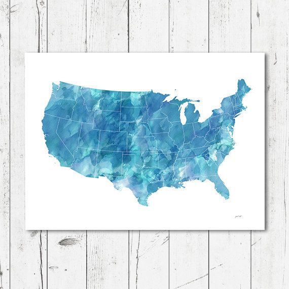 United States watercolor Map printable file JPEG download | Design ...