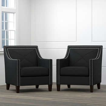Best Victor 2 Pack Fabric Accent Chairs Black 439 99 Cosmic 400 x 300