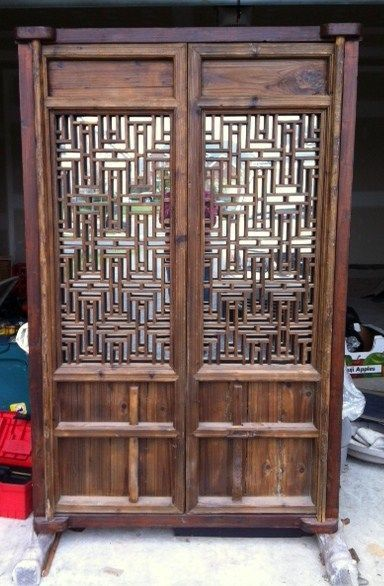 Antique Chinese 2 Panel Screen Natural Wood Room Divider