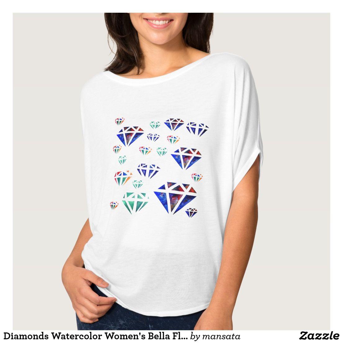 Diamonds Watercolor Women's Bella Flowy Circle Top