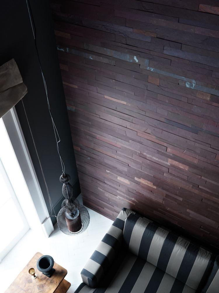 steinwand wohnzimmer anbringen, verblendsteine an die wonzimmerwand anbringen - dunkle lila-nuance, Design ideen