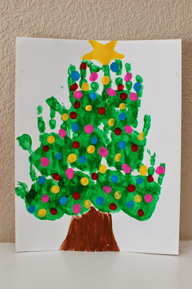 Awesome Christmas Kids Craft Ideas Part - 9: Handprint Tree -- Great Gift For Grandma With All The Grandkids! Morrow  Novembrino Novembrino Garner Coon :-) Pinkie For Pink: Kids Christmas Art  Projects