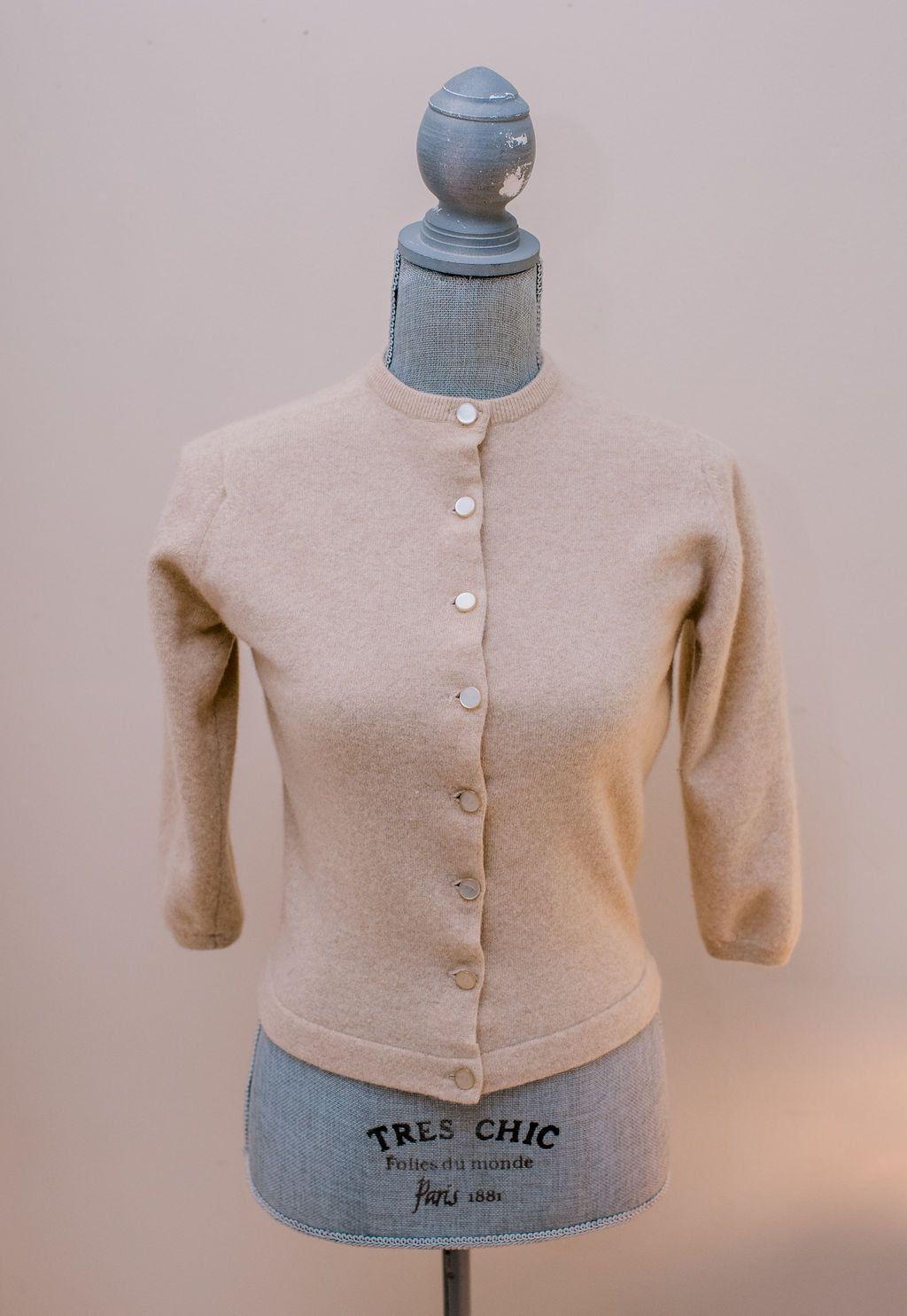 a7169e25c13ae9 1950s Cashmere B. Altman Pringle of Scotland Sweater Cardigan 1950s Vintage  Pin uP