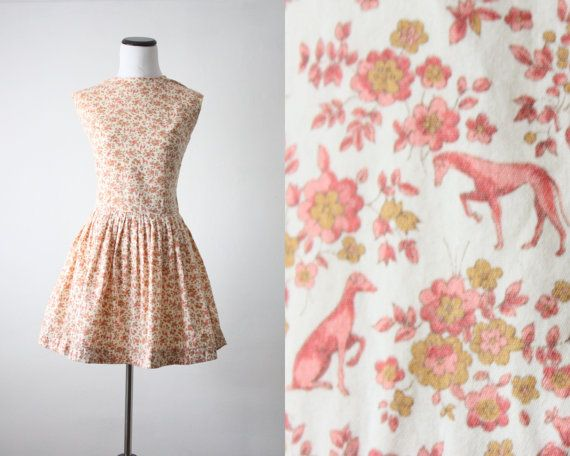 1960 S Greyhound Print Dress By Thrush On Etsy 112 00