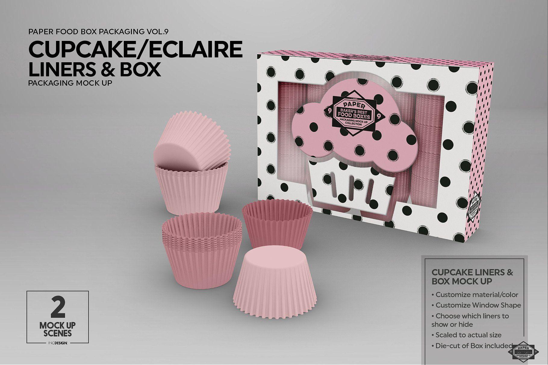 Cupcake Eclaire Liner Box Mockup Food box packaging, Box