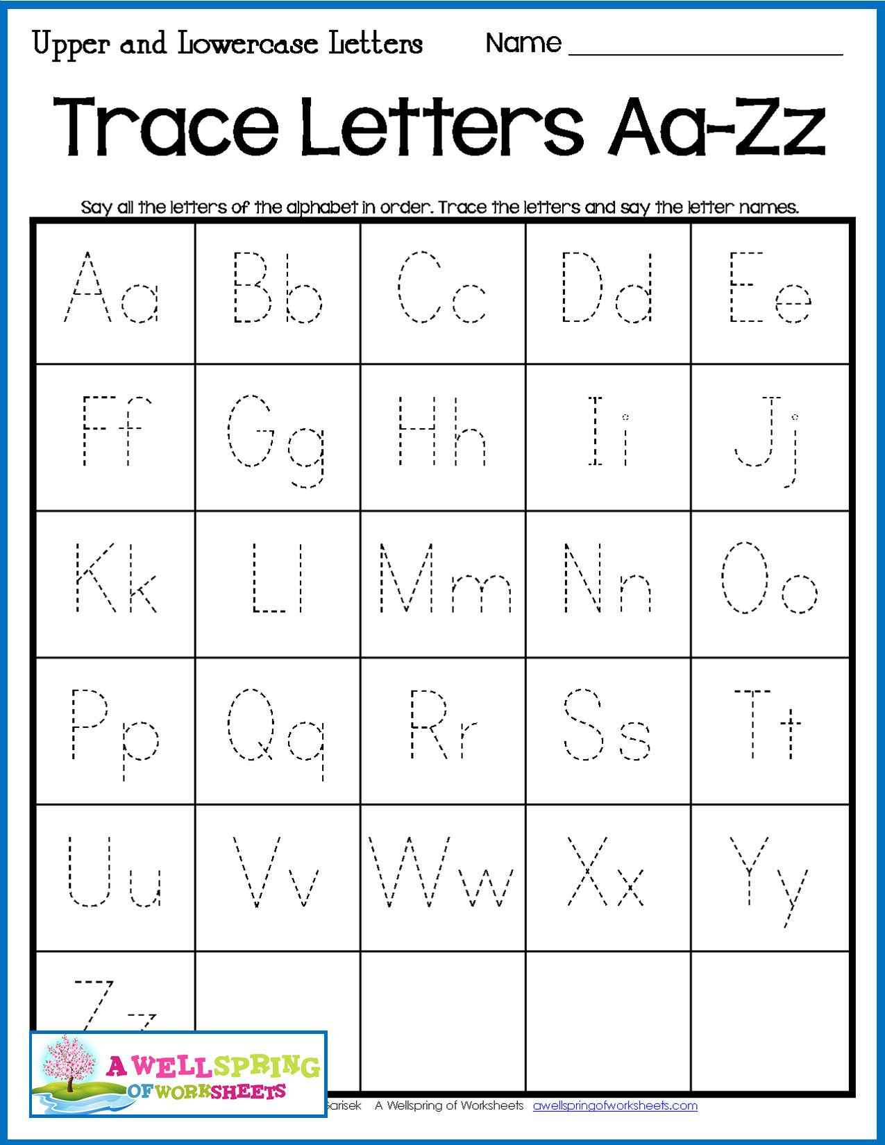 Tracing Lowercase Letters Printable Worksheets In