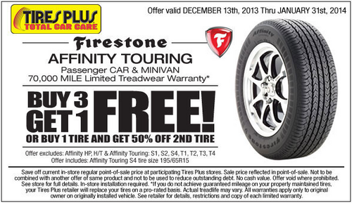 Tires Plus Buy Three Get One Free Tire Or Buy One Tire And Get 50