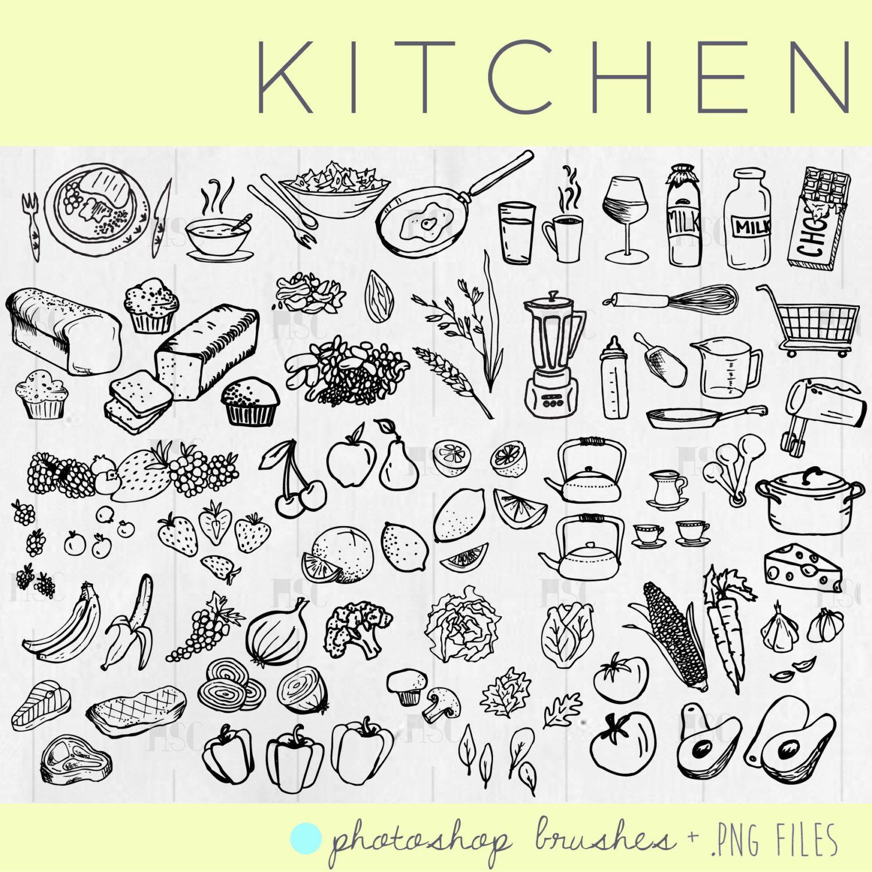 Kitchen - MEGA pack / Food / Fruits & Veggies / Hand Drawn Clip Art ...