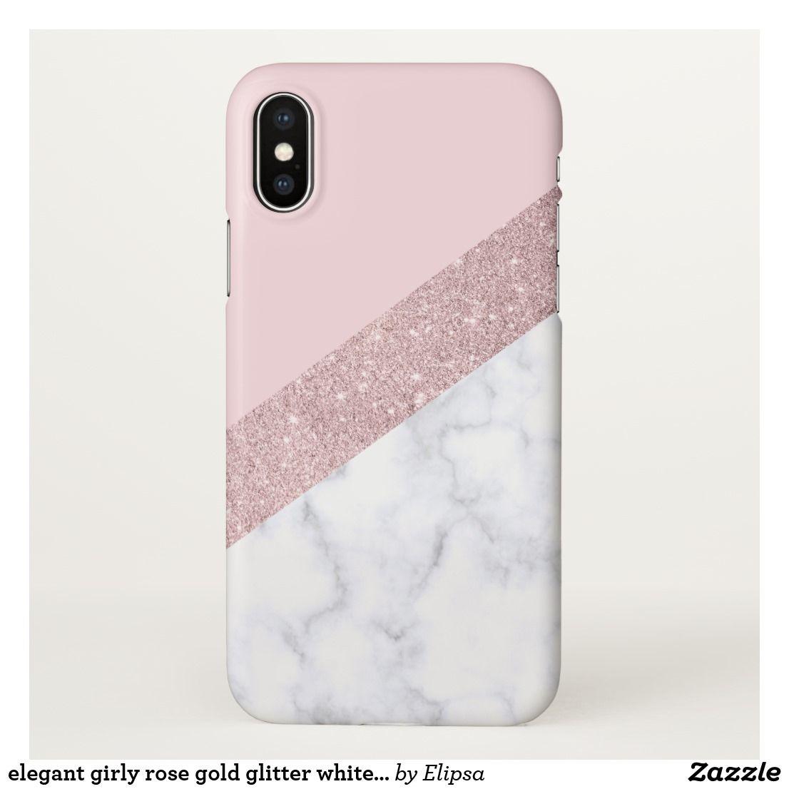 Elegant Girly Rose Gold Glitter White Marble Pink Iphone Case Zazzle Com Glitter Phone Cases Sparkly Phone Cases Sparkle Phone Case
