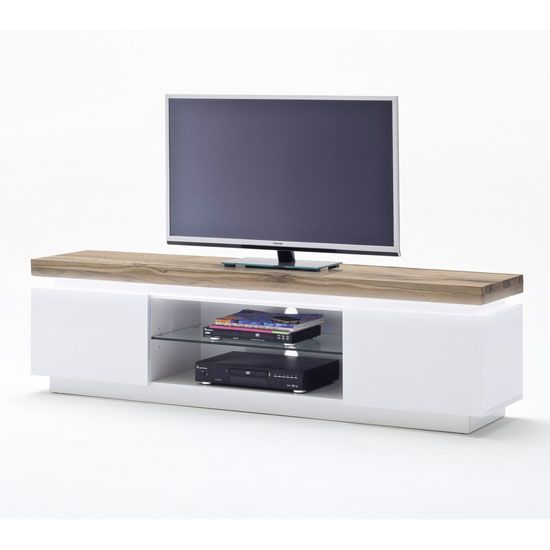 Knotty White Oak Cabinets: Romina Lowboard TV Stand In Knotty Oak And Matt White With
