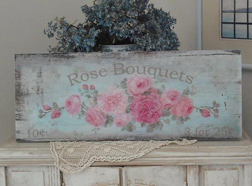 Original roses sign printed on wood!