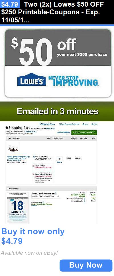 graphic about Lowes 50 Off 250 Printable Coupon referred to as Discount codes: 2 (2X) Lowes $50 Off $250 Printable-Discount codes - Exp