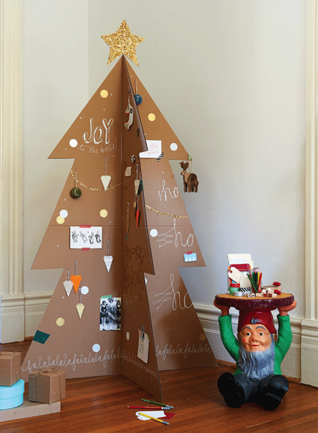 Let your kids decorate a cardboard Christmas