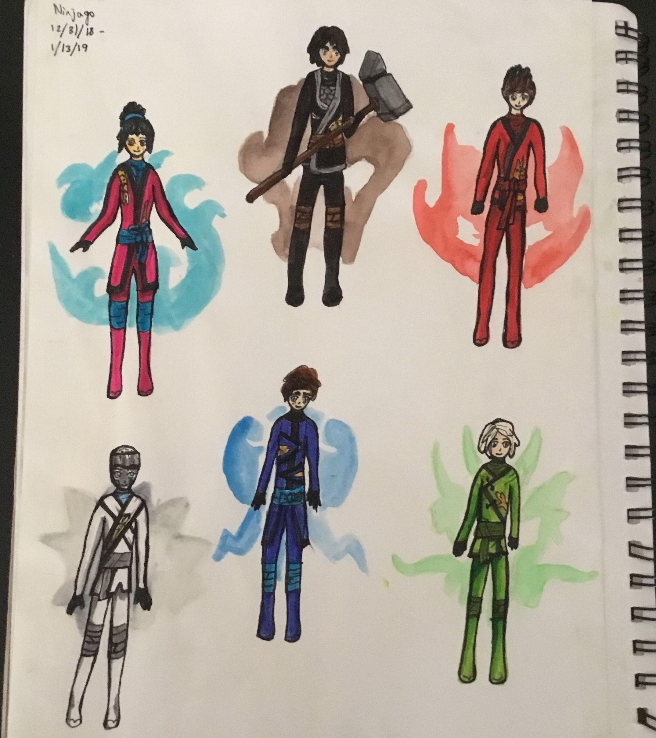 Ninjago Season 10 drawing Watercolor and markers 💚 | my stufffs
