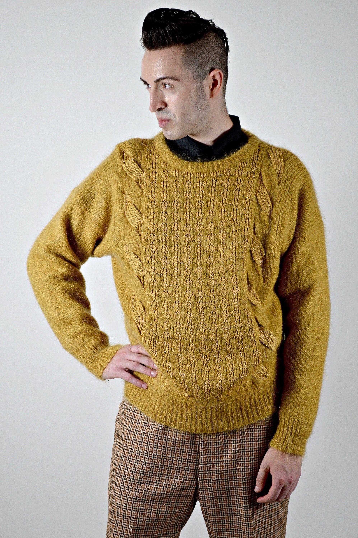 Mens Vintage Sweater Gold Pullover Cable Knit Wool Size Xl Oversize Crew Neck Sweater Vintage Clothing Men Vintage Outfits Vintage Men