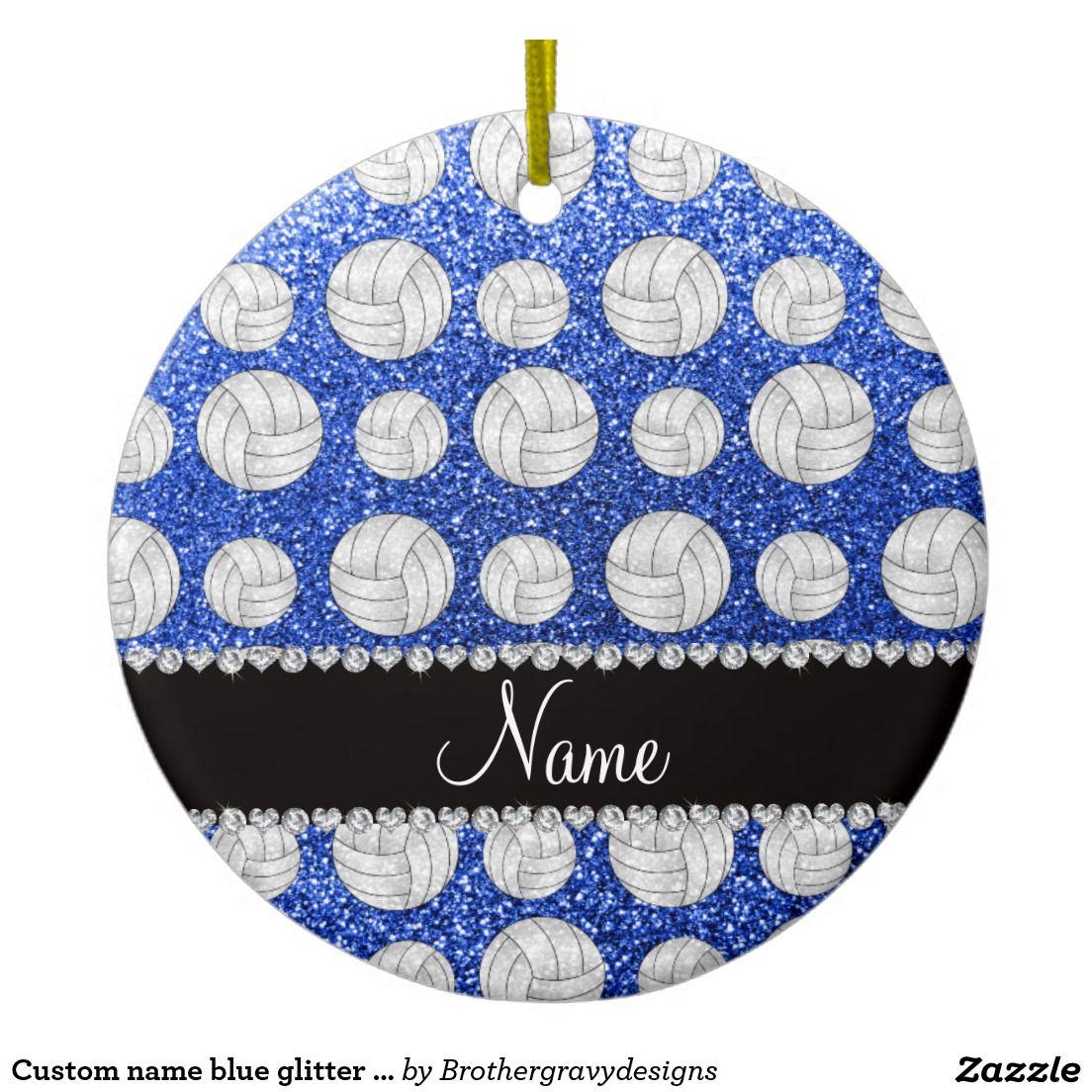 Custom name ornaments - Custom Name Blue Glitter Volleyballs Ceramic Ornament