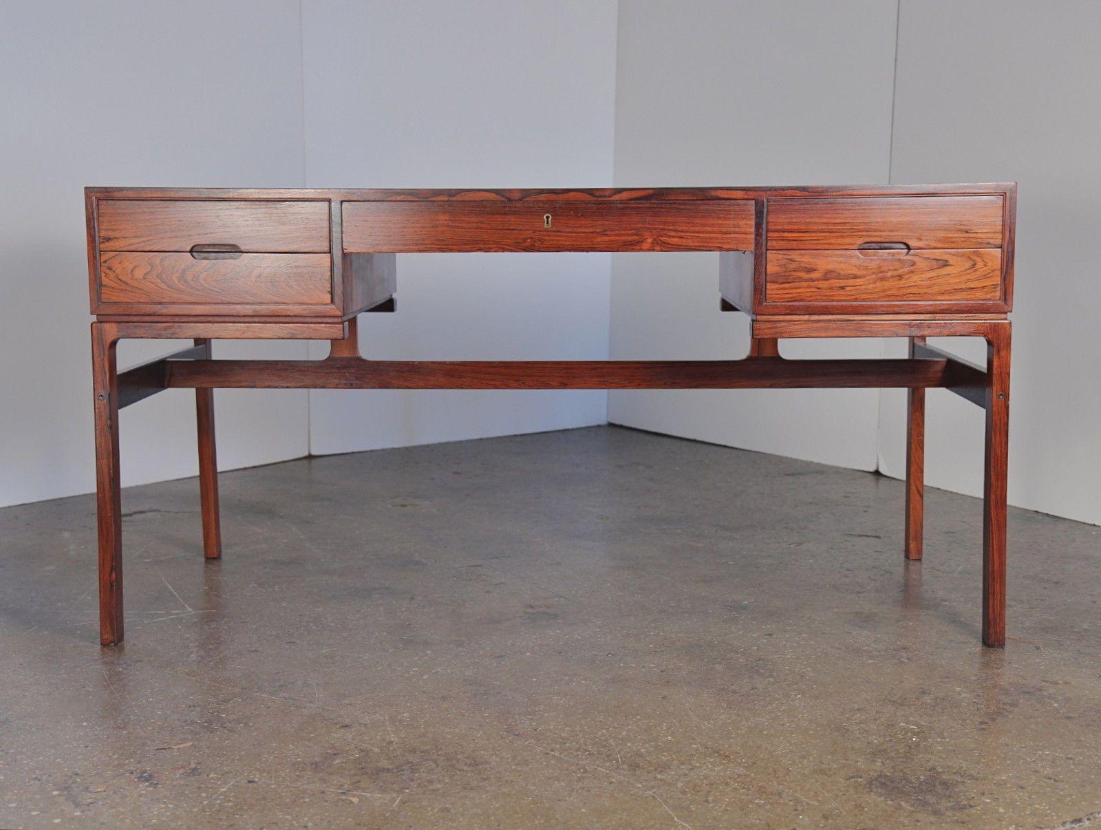 wahl iversen rosewood desk danish modern writing table sleek design - arne wahl iversen rosewood desk danish modern writing table sleek design
